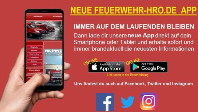 Feuerwehr Rostock HRO App für dein Smartphone kostenlos.